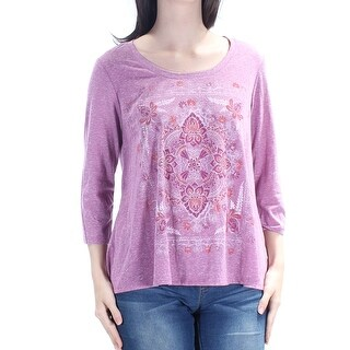 Womens Purple Floral 3/4 Sleeve Jewel Neck Casual Hi-Lo Top Size XS