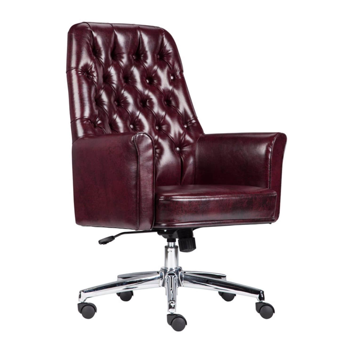 Offex Mid Back Traditional Tufted Burgundy Leather Executive Swivel Office  Chair with Arms
