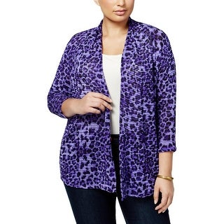 NY Collection Womens Plus Cardigan Top Animal Print Open Front Purple 1X