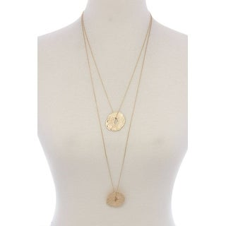 Textured Organic Shape Pendant Multi Later Necklace - Color - Gold