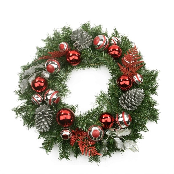 "24"" Pre-Decorated Red and Silver Holly, Ball, Cedar and Pine Cone Artificial Christmas Wreath - Unlit"