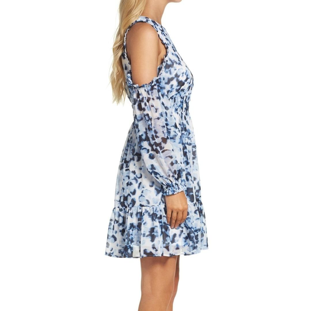 Eliza J Blue Womens Size 9 Cold-Shoulder Abstract Sheath Dress