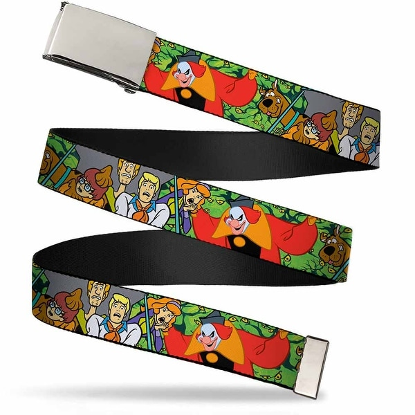 "Blank Chrome 1.0"" Buckle Scooby Doo Group W Ghost Clown & Eyes Webbing Web Web Belt 1.0"" Wide"