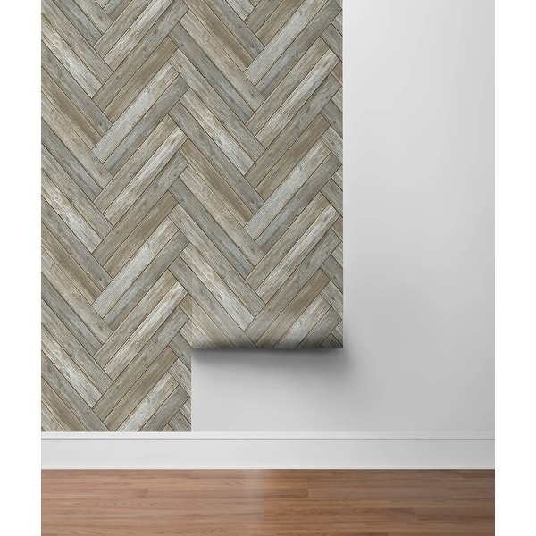 Shop Nextwall Chevron Wood Peel And Stick Removable Wallpaper 20 5 In W X 18 Ft L Overstock 31452034