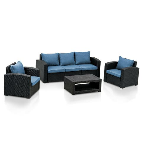 MCombo 6pcs Patio Furniture Set Outdoor Sectional Sofa Rattan Pattern Patio Conversation Set w/Seat Cushions 6050-700