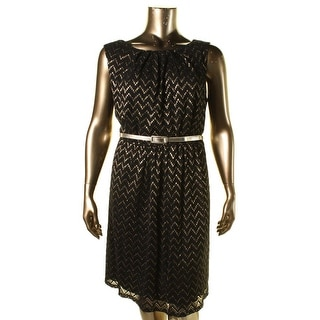 Connected Apparel Womens Plus Metallic Lace Cocktail Dress - 22W