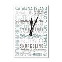 Catalina Island, CA - Typography - LP Artwork (Acrylic Wall Clock) - acrylic wall clock
