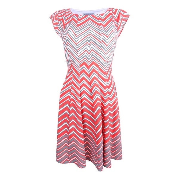 6dee8f782fb0 Shop Signature by Robbie Bee Womens Petite Chevron Fit & Flare Dress (PS,  Grey/Coral) - Grey/Coral - ps - On Sale - Free Shipping On Orders Over $45  ...