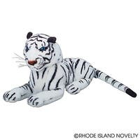 """One Realistic Stuffed Animal Plush White Tiger In Laying Position - 15"""""""