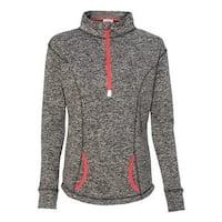 Women's Cosmic Fleece Quarter-Zip Pullover - Charcoal Fleck/ Fire Coral - L
