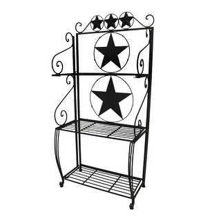 Rustic Brown Western Stars and Scrolls 3 Shelf Metal Bakers Rack