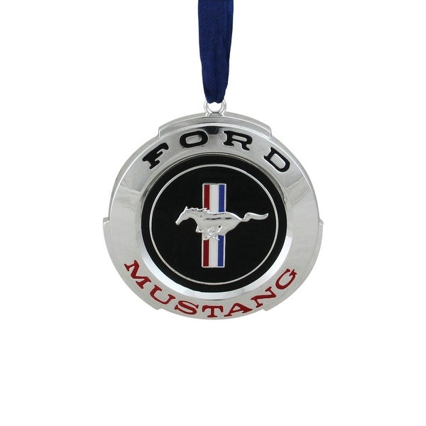 "3"" Officially Licensed Black and Red ""Ford Mustang"" GT Logo Silver Plated Christmas Tree Ornament"