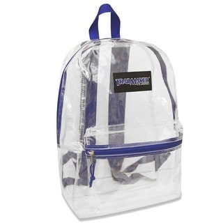 "Trailmaker Girls Blue Padded Straps Classic Clear Backpack 15""x10.6""x5"""