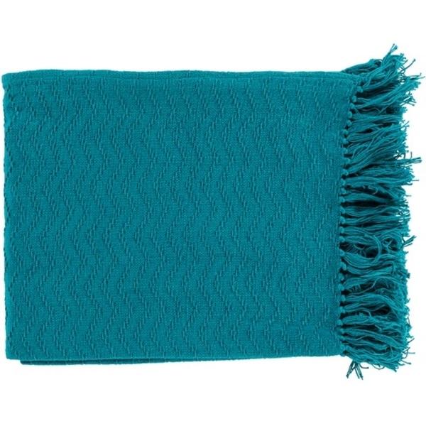 "Ocean Blue Woven Chevron Cotton Fringed Decorative Throw Blanket 50"" x 60"""