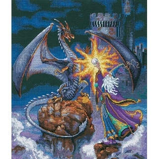 """Gold Collection Magnificent Wizard Counted Cross Stitch Kit-12""""X14"""" 18 Count"""