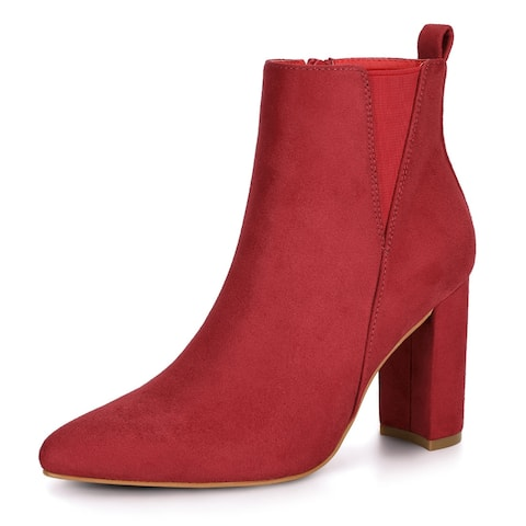 Women's Pointed Toe Zipper Block Heel Ankle Boots Red US 9