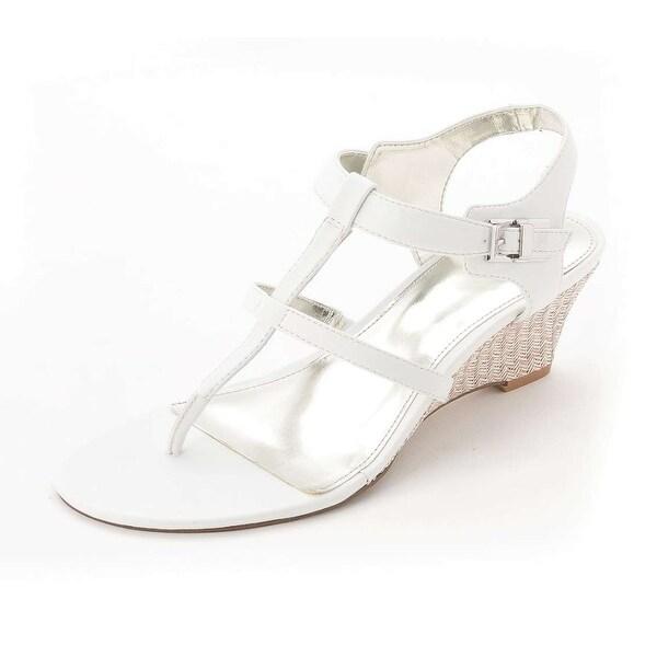 Alfani Women's Kainon Thong Wedge Sandals, White, Size 9.5