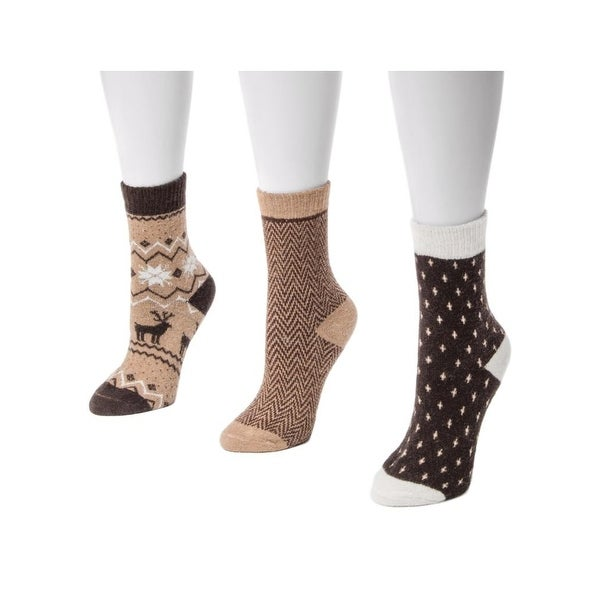 Muk Luks Socks Womens Patterned Holiday 3 pack One Size - One size