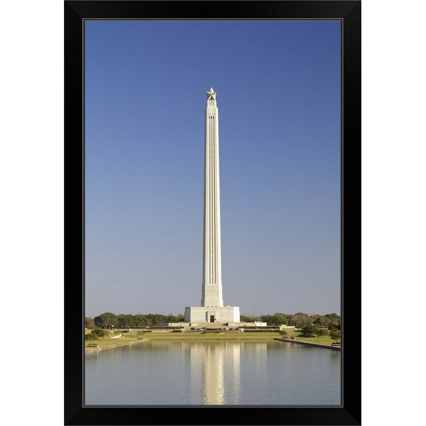 """Reflection of a monument in the pool, San Jacinto Monument, Texas"" Black Framed Print"