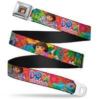 Dora Pose Full Color Pink Green Dora The Explorer Dora Poses Floral Collage Seatbelt Belt