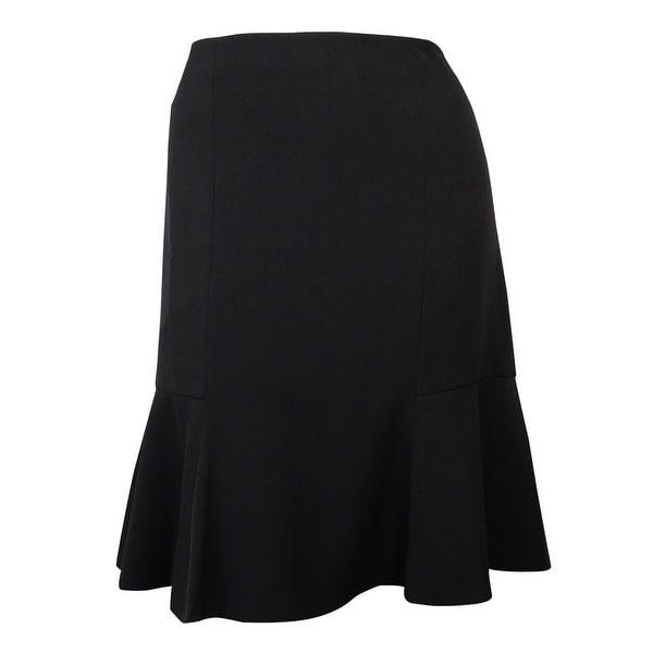 Kasper Women's Solid A-Line Flounce Hem Skirt