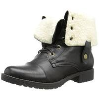Penny Loves Kenny Womens Devon Lace-Up Boot Fold-Over Faux Leather