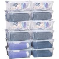 Costway 12 Pack 156Quart 144Liter Latch Stack Storage Box Tubs Bins Latches Handles
