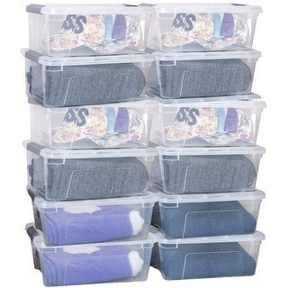 Costway 12 Pack 156Quart 144Liter Latch Stack Storage Box Tubs Bins Latches Handles - Transparent