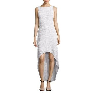 Parker Black Nellie Sequined High low Cocktail Evening Dress White - 2