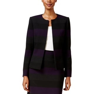 Tahari ASL Womens Casual Blazer Striped Colorblock Purple 2