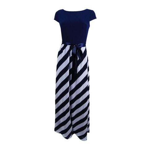 SL Fashions Women's Diagonal Stripe Maxi Dress - Navy/Ivory
