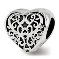 Sterling Silver Reflections Filigree Heart Bead (4.5mm Diameter Hole) - Thumbnail 0