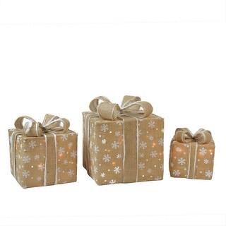 Set of 3 Lighted Natural Snowflake Burlap Gift Boxes Christmas Yard Art Decorations