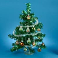 """Despicable Me Green Tinsel Mini Christmas Tree Table Top Decoration 15"""""""