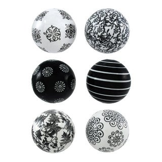 Set of 6 Black and White Decorative Balls 3 in. Diameter