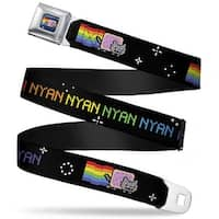 Nyan Cat Blue Full Color Nyan Repeat W Nyan Cat Black Webbing Seatbelt Belt Seatbelt Belt