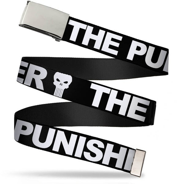 Blank Chrome Buckle The Punisher Bold W Logo3 Black White Webbing Web Belt - S