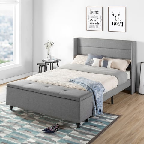 Modern Upholstered Platform Bed with Storage Ottoman by Crown Comfort