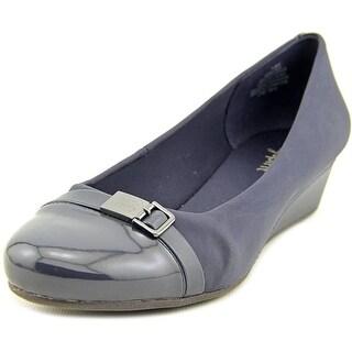 Easy Spirit Duana Women W Open Toe Leather Blue Wedge Heel