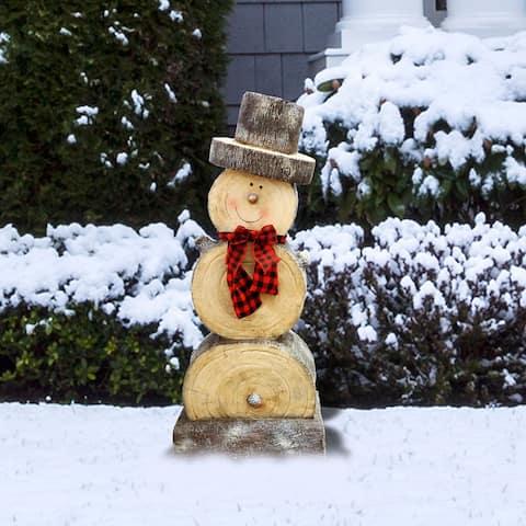 Alpine Wooden Snowman Statue, 38 Inch Tall