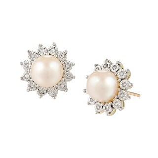 7 mm Freshwater Cultured Pearl & 1/8 ct Diamond Stud Earrings in 10K Gold