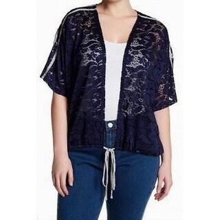 H.I.P. Blue Women's Size 1X Plus Floral-Lace Cardigan Sweater