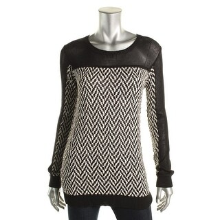 Rachel Roy Womens Chevron Knit Pullover Sweater