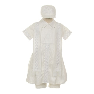 Rain Kids Little Boys White Silk Cross Embroidered Hat Stole Baptism Romper 2-3T