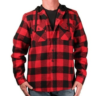 Burnside Men's Hooded Plaid Flannel