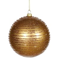 "Antique Gold Glitter Striped Shatterproof Christmas Ball Ornament 4"" (100mm)"
