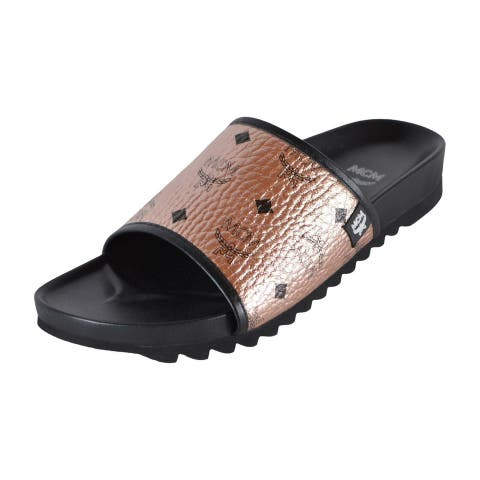 MCM Men's Champagne Gold Canvas Visetos Monogram Slides Sandals Shoes 11