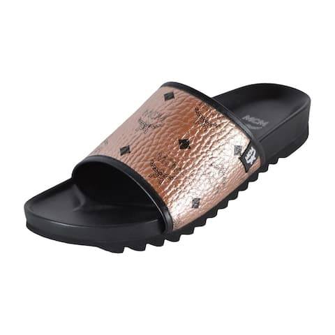 MCM Men's Champagne Gold Canvas Visetos Monogram Slides Sandals Shoes 12