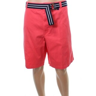 Club Room Pink Mens Size 40 Solid Chino Flat Front Belted Shorts