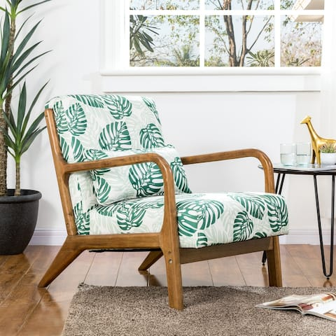 Glitzhome Beach Design Patterned Fabric Accent Armchair